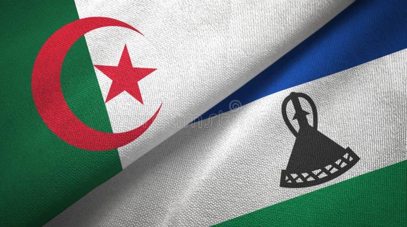 阿尔及利亚和莱索托两旗子纺织品布料,织品纹理 向量例证
