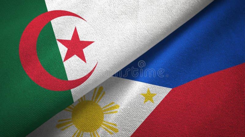 阿尔及利亚和菲律宾两旗子纺织品布料,织品纹理 向量例证