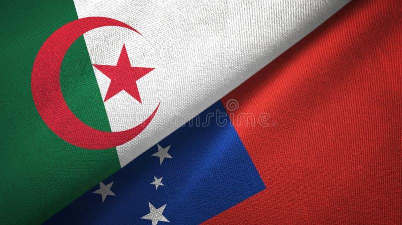 阿尔及利亚和萨摩亚两旗子纺织品布料,织品纹理 皇族释放例证