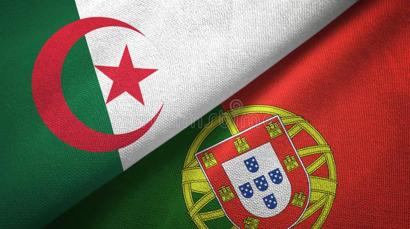 阿尔及利亚和葡萄牙两旗子纺织品布料,织品纹理 向量例证