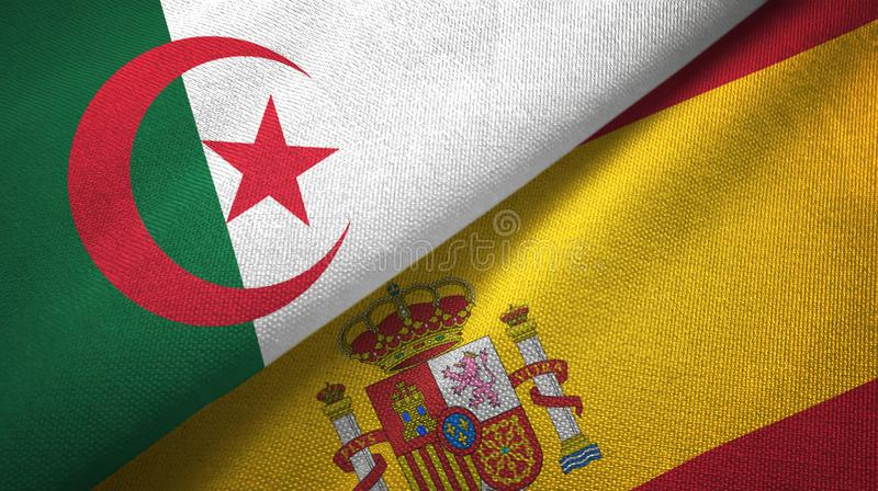 阿尔及利亚和西班牙两旗子纺织品布料,织品纹理 库存例证