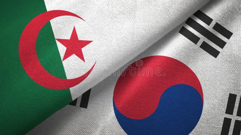 阿尔及利亚和韩国两旗子纺织品布料,织品纹理 库存例证