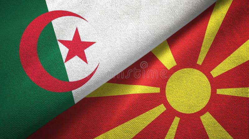 阿尔及利亚和马其顿两旗子纺织品布料,织品纹理 库存例证