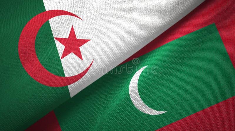 阿尔及利亚和马尔代夫两旗子纺织品布料,织品纹理 皇族释放例证