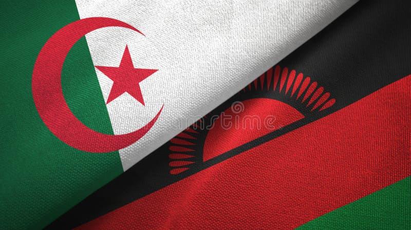 阿尔及利亚和马拉维两旗子纺织品布料,织品纹理 向量例证