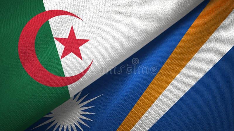 阿尔及利亚和马绍尔群岛两旗子纺织品布料,织品纹理 向量例证