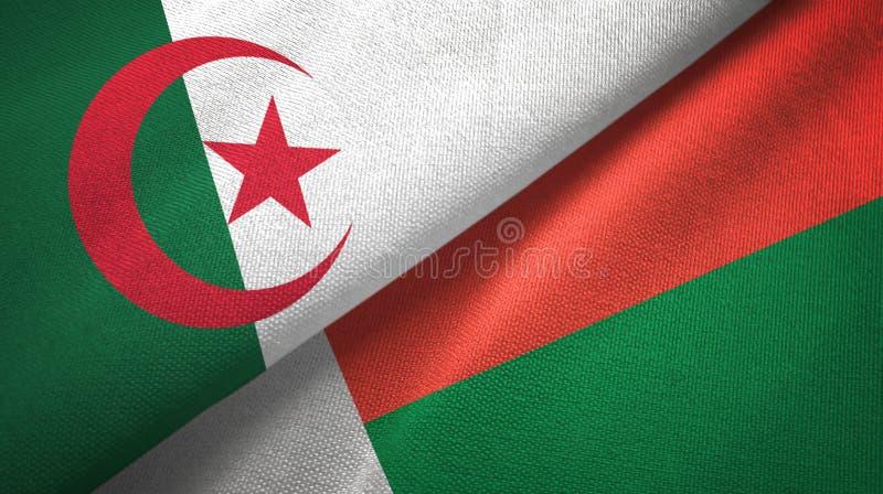 阿尔及利亚和马达加斯加两旗子纺织品布料,织品纹理 库存例证