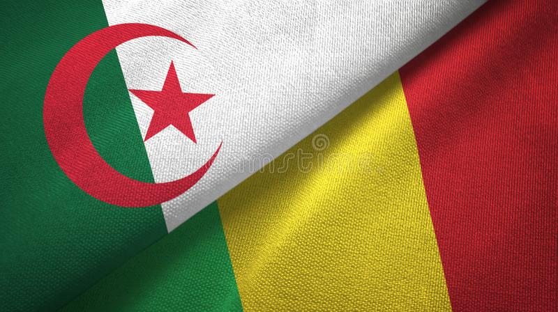 阿尔及利亚和马里两旗子纺织品布料,织品纹理 向量例证