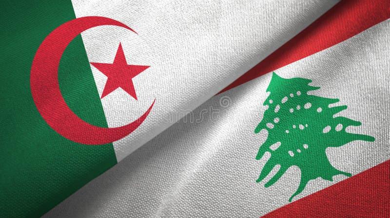 阿尔及利亚和黎巴嫩两旗子纺织品布料,织品纹理 向量例证