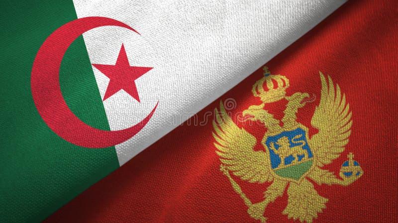 阿尔及利亚和黑山两旗子纺织品布料,织品纹理 皇族释放例证
