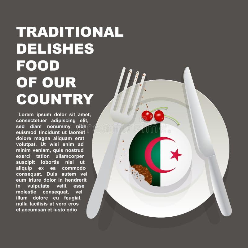 阿尔及利亚国家海报传统可口食物  非洲全国点心 传染媒介与Alg国旗的例证蛋糕  库存例证