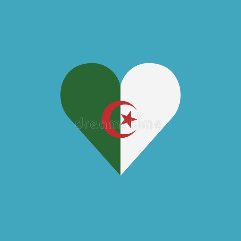 阿尔及利亚在一心形的旗子象在平的设计 皇族释放例证