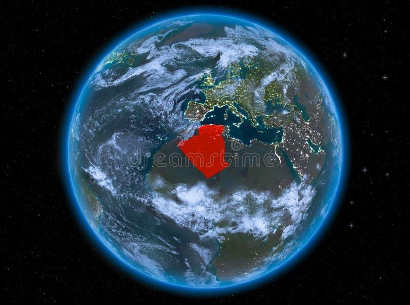 阿尔及利亚在地球上的晚上 皇族释放例证