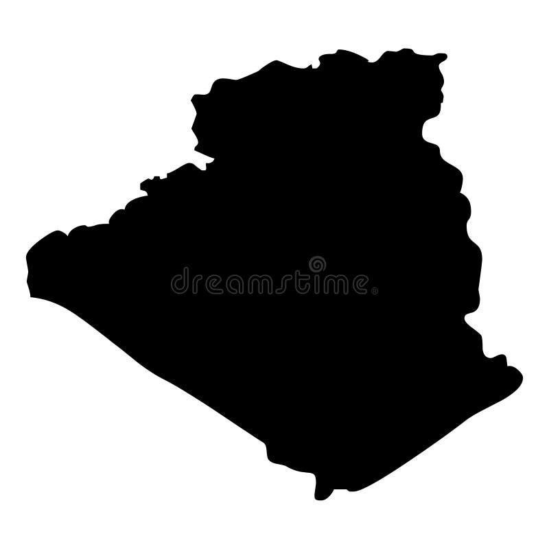 阿尔及利亚地图剪影传染媒介例证 库存例证
