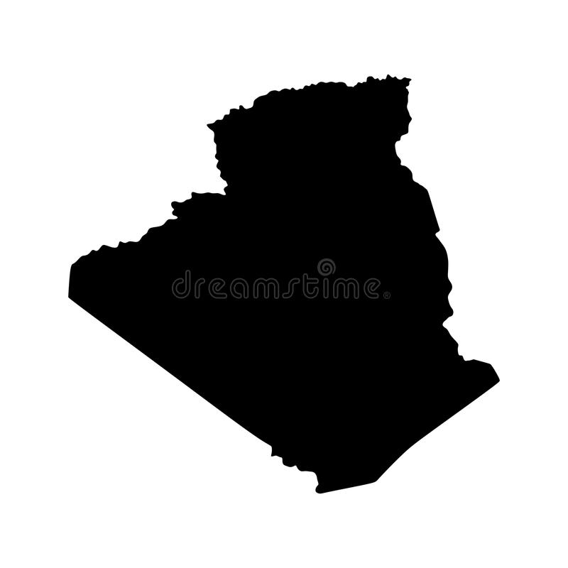 阿尔及利亚地图剪影 库存例证