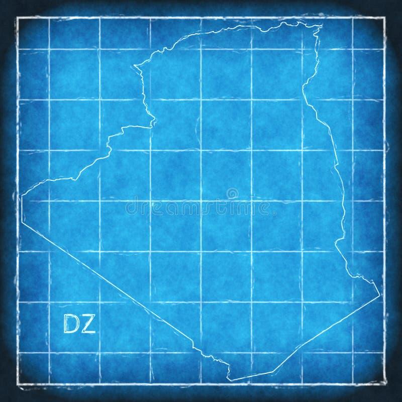 阿尔及利亚地图方案艺术品例证剪影 库存例证