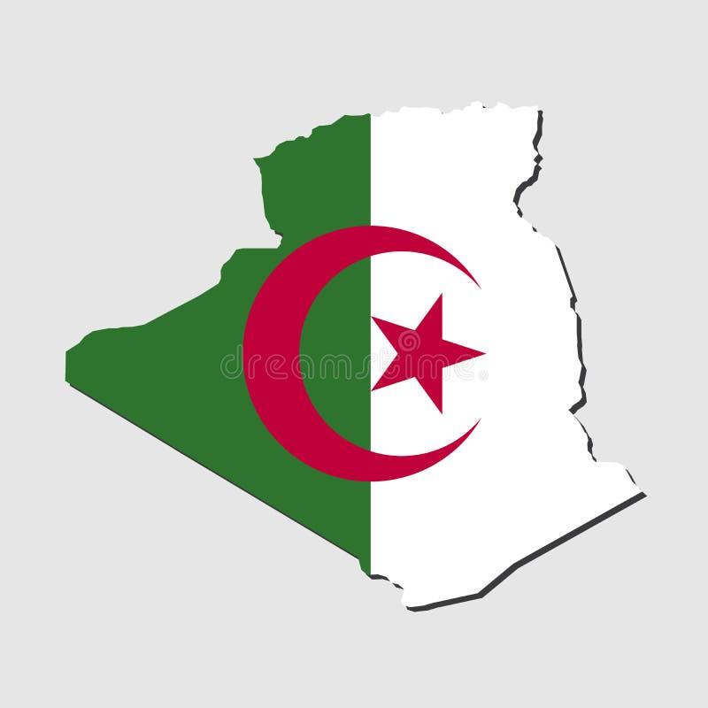 阿尔及利亚地图旗子 皇族释放例证