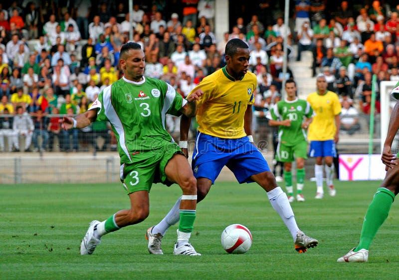 阿尔及利亚巴西友好符合足球与 库存照片