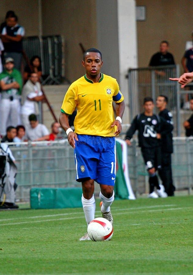 阿尔及利亚巴西友好符合足球与 库存图片