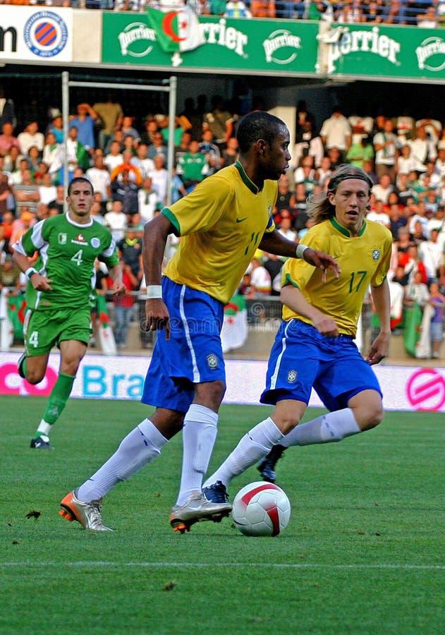 阿尔及利亚巴西友好符合足球与 免版税库存照片