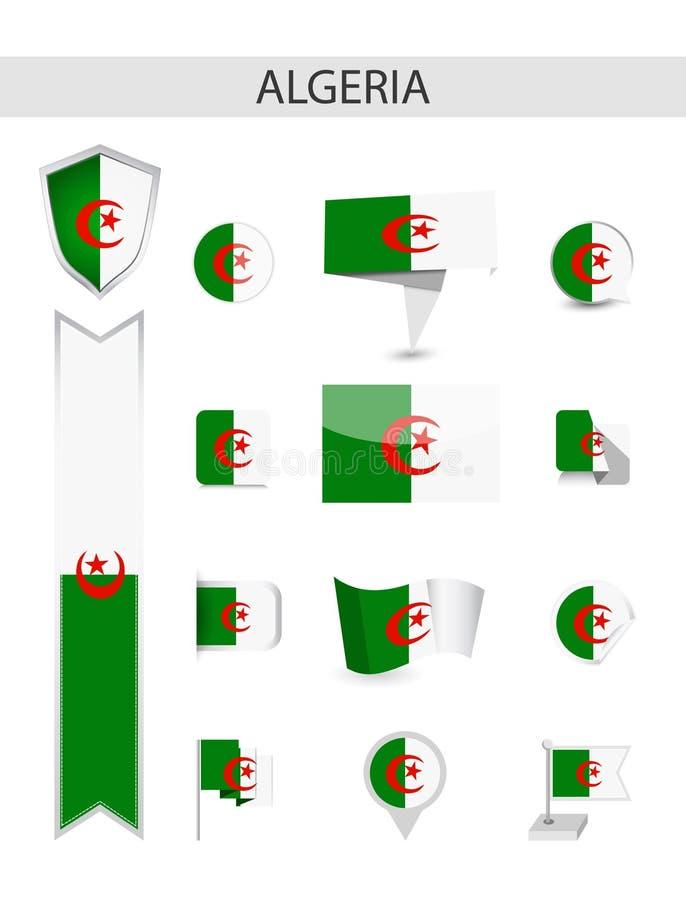 阿尔及利亚平的旗子收藏 皇族释放例证