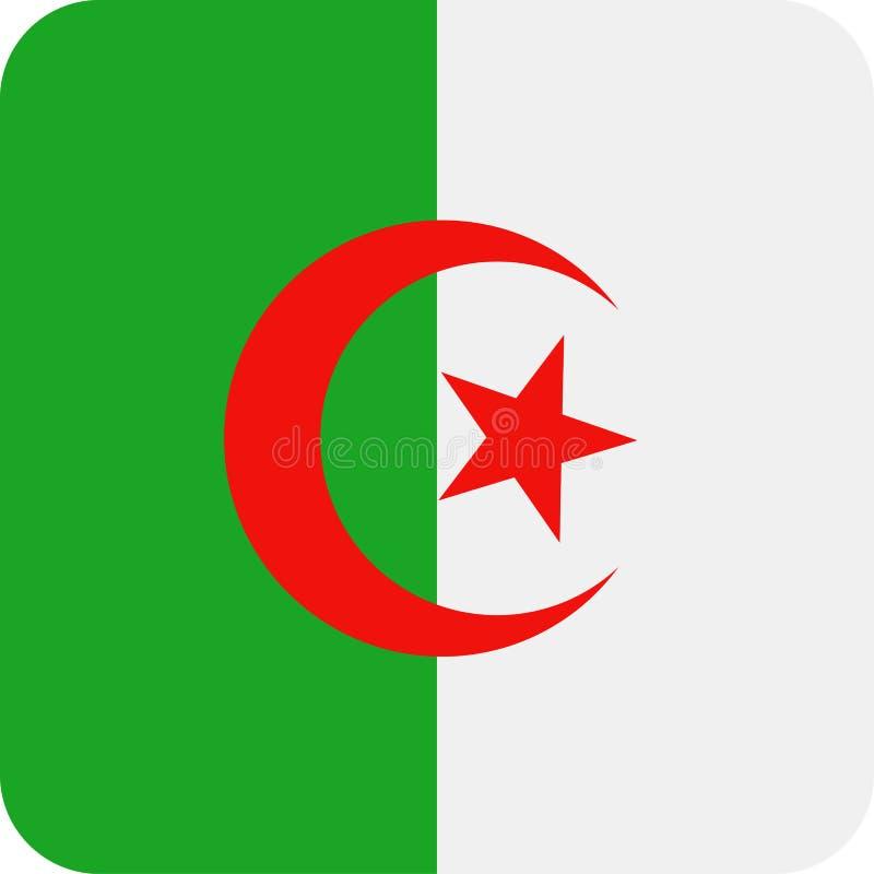 阿尔及利亚旗子传染媒介正方形平的象 皇族释放例证