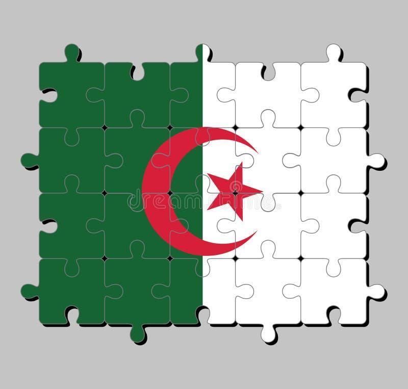 阿尔及利亚旗子拼图在两个相等的垂直杆的,绿色和白色,充电在中心与红色星和月牙 皇族释放例证