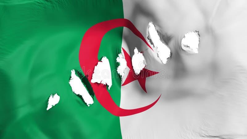 阿尔及利亚旗子穿孔了,弹孔 向量例证