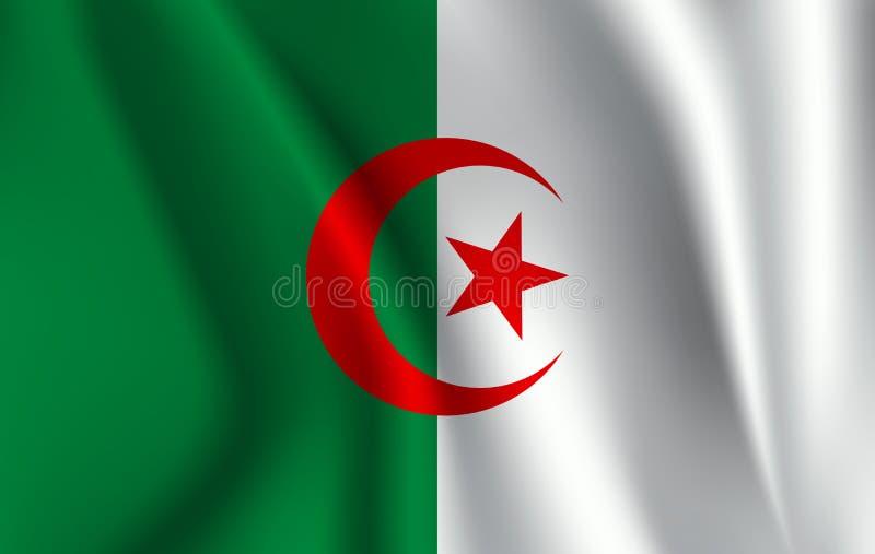 阿尔及利亚标志 阿尔及利亚人` s民主共和国现实挥动的旗子  库存例证