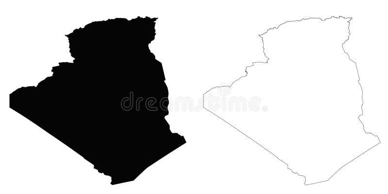 阿尔及利亚概述地图 库存例证