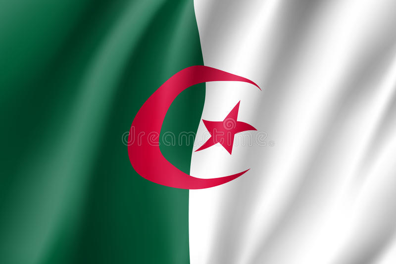 阿尔及利亚现实旗子 向量例证