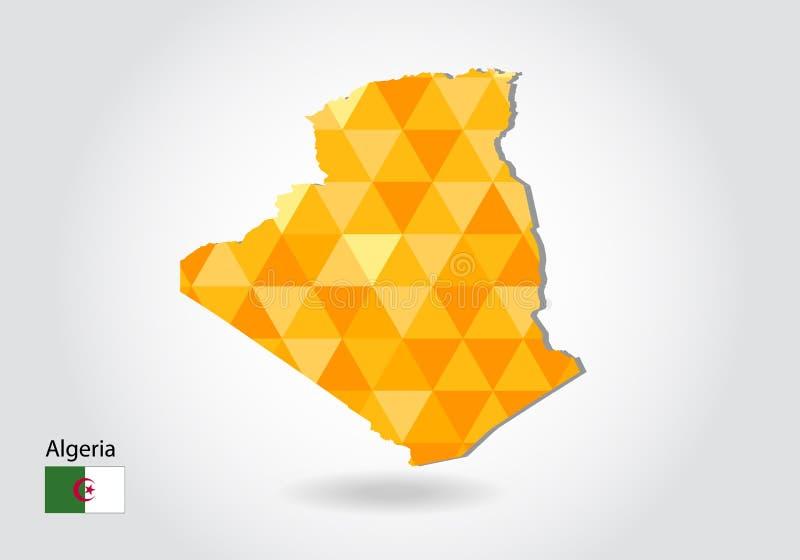 阿尔及利亚的几何多角形样式传染媒介地图 库存例证