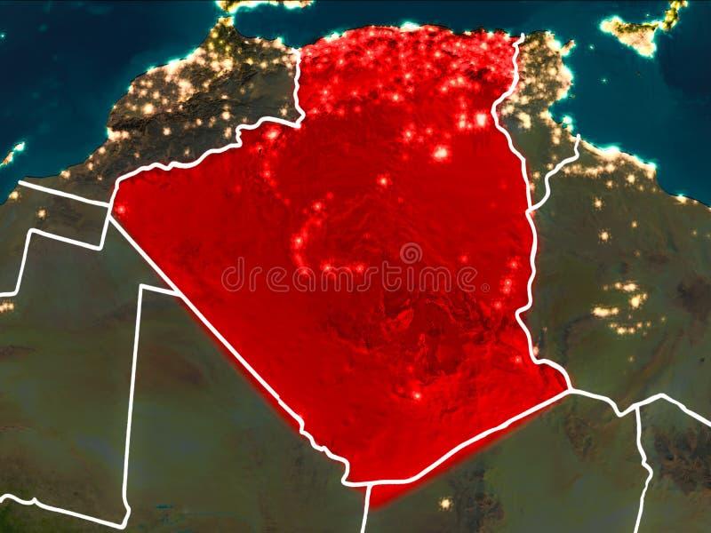 阿尔及利亚的地图在晚上 皇族释放例证