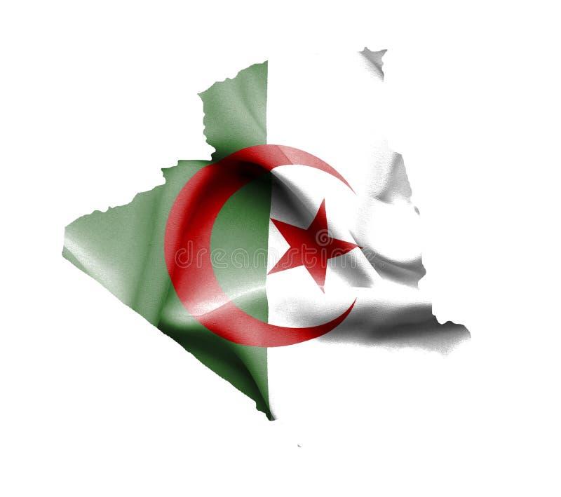 阿尔及利亚的地图有在白色隔绝的挥动的旗子的 向量例证