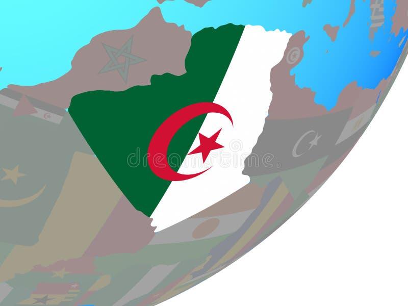 阿尔及利亚的地图有旗子的在地球 库存例证