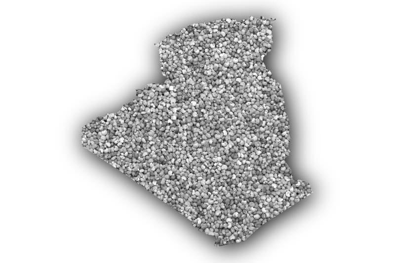 阿尔及利亚的地图罂粟种子的 向量例证