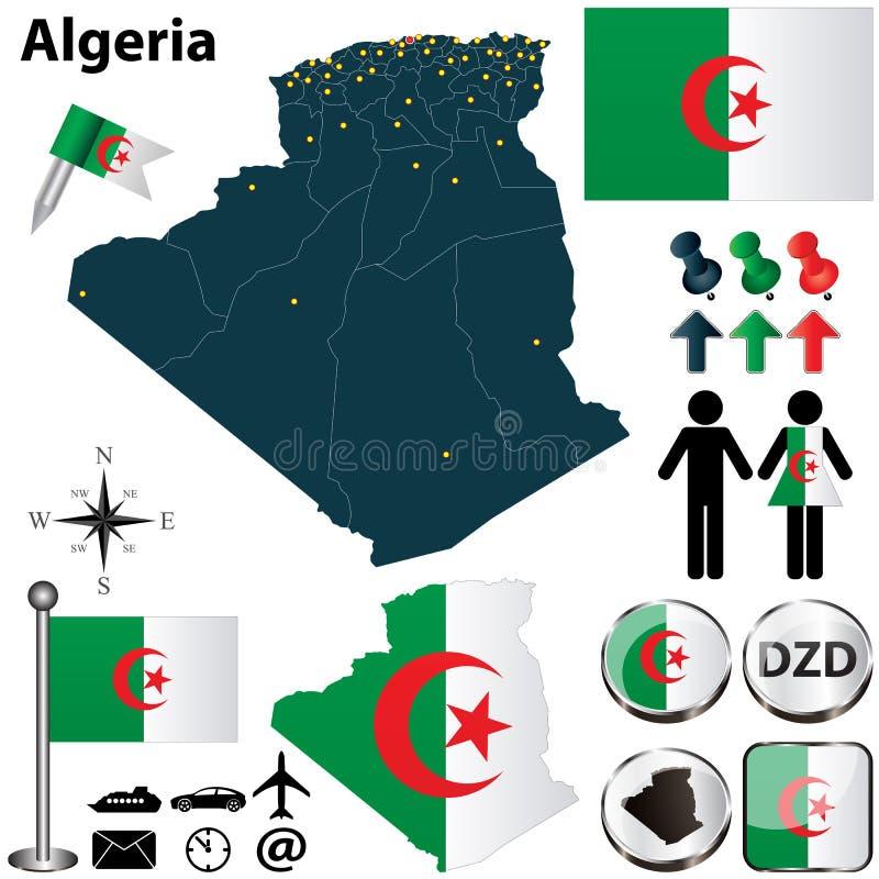 阿尔及利亚的地图 向量例证