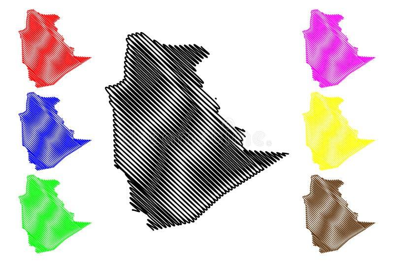 阿尔及利亚的塔曼拉塞特省省,人民主共和国阿尔及利亚地图传染媒介例证,杂文剪影 库存例证