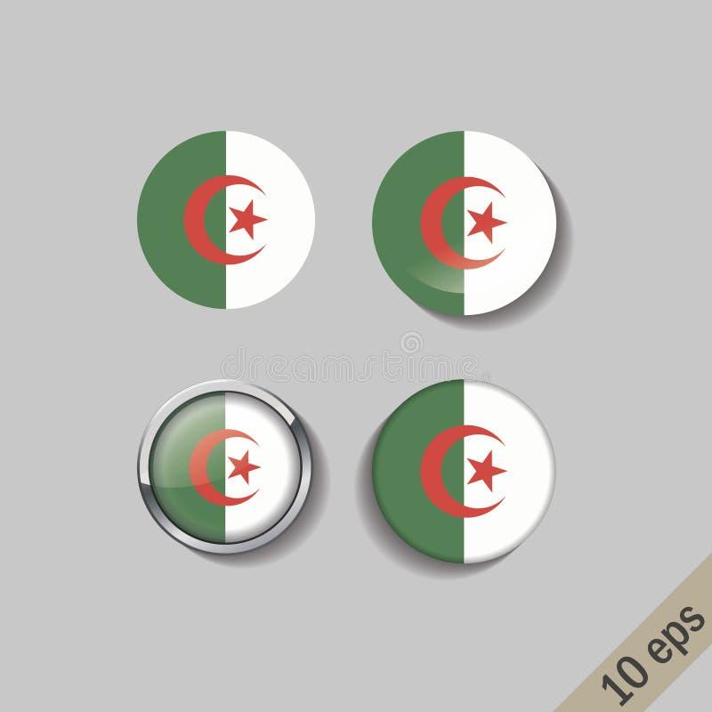 阿尔及利亚的套下垂围绕徽章 也corel凹道例证向量 10 eps 向量例证