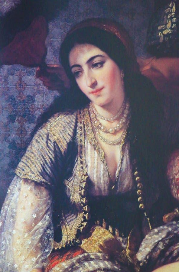 阿尔及利亚的妇女-绘画在1860年创造的 免版税库存照片