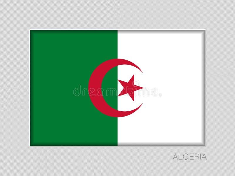 阿尔及利亚的旗子 在灰色纸板的全国少尉长宽比2到3 皇族释放例证