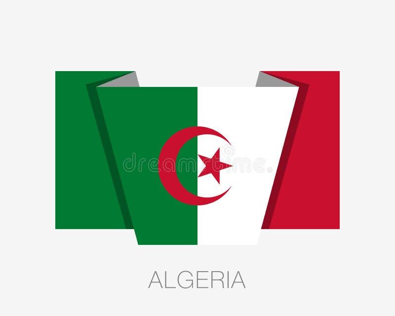 阿尔及利亚的旗子 平的与国名的象挥动的旗子在白色 皇族释放例证