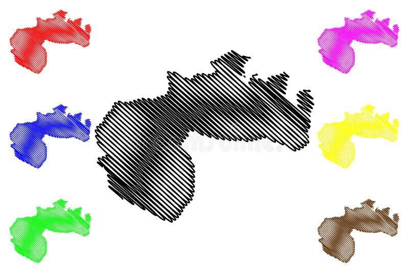阿尔及利亚的比斯克拉省省,人民主共和国阿尔及利亚地图传染媒介例证,杂文剪影比斯克拉地图 库存例证