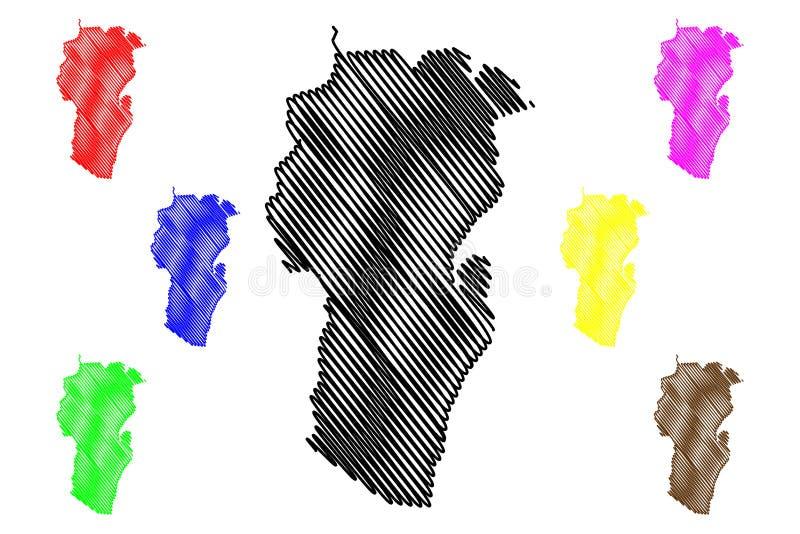 阿尔及利亚的汉舍莱省省,人民主共和国阿尔及利亚地图传染媒介例证,杂文剪影 皇族释放例证