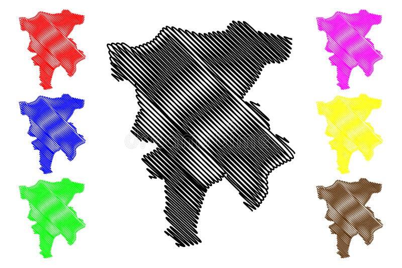 阿尔及利亚的米拉省省,人民主共和国阿尔及利亚地图传染媒介例证,杂文剪影米拉地图 库存例证