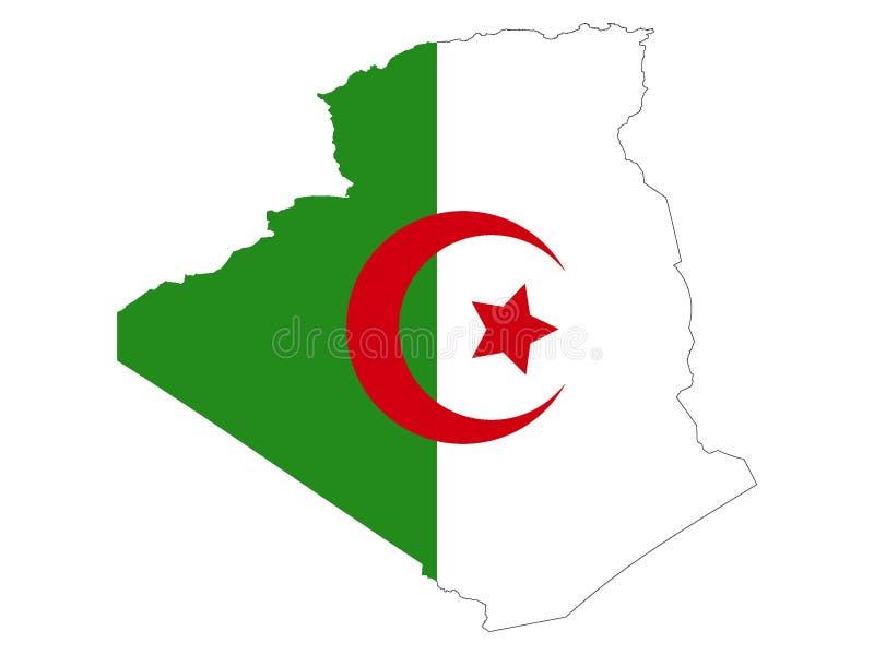 阿尔及利亚的联合的地图和旗子 向量例证