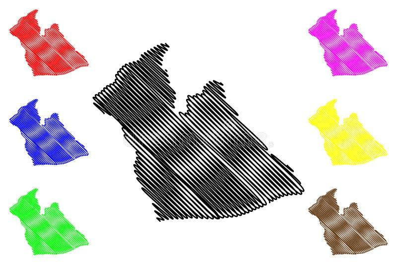 阿尔及利亚的艾格瓦特省省,人民主共和国阿尔及利亚地图传染媒介例证,杂文剪影艾格瓦特 库存例证