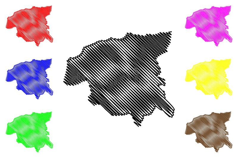 阿尔及利亚的谢里夫省省,人民主共和国阿尔及利亚地图传染媒介例证,杂文剪影Chlef地图 向量例证