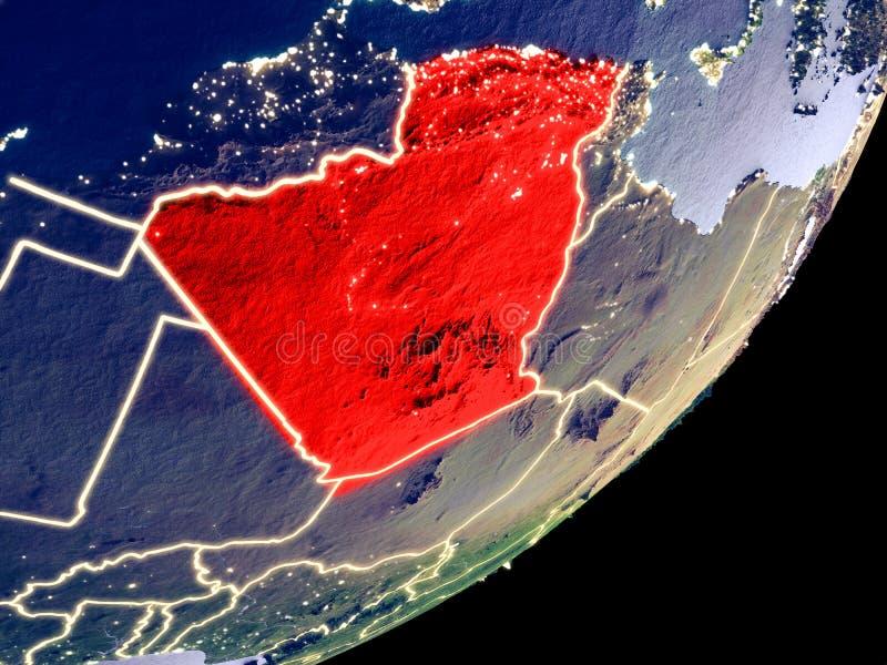 阿尔及利亚的轨道视图在晚上 向量例证