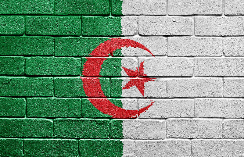 阿尔及利亚砖标志墙壁 库存图片